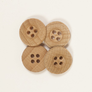 Round Oak Button 15mm