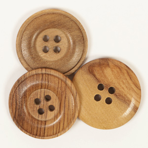 Round Cedar Button 25mm