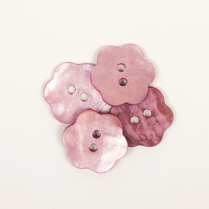 Pink Flower Mother of Pearl  Button 15mm
