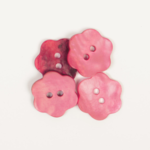 Red Flower Mother of Pearl  Button 15mm