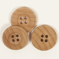 Round Oak Button 25mm