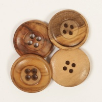 Round Cedar Button 20mm