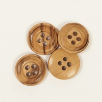 Round Cedar Button 15mm