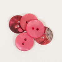 Round Red Mother of Pearl  Button 15mm
