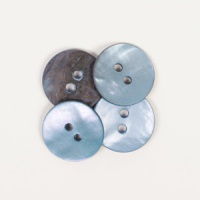 Round Blue Mother of Pearl  Button 15mm